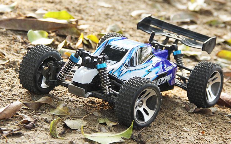 Monster 4x4 1:10 Brontosaurus HSP a 2.4 GHz. Camión azul-negro-12