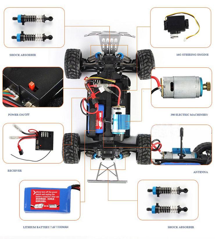 Monster 4x4 1:10 Brontosaurus HSP a 2.4 GHz. Camión azul-negro-16