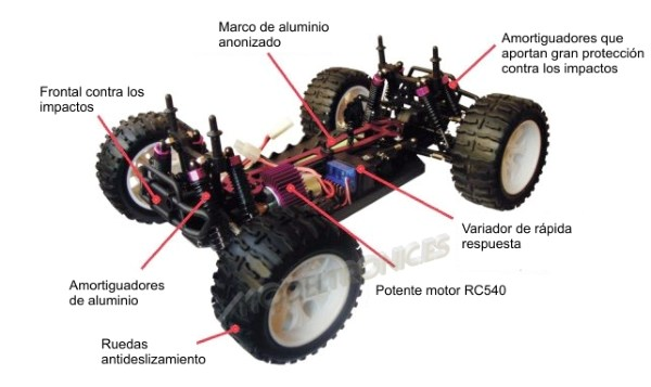 Monster 4x4 1:10 Brontosaurus HSP a 2.4 GHz. Camión azul-negro-13