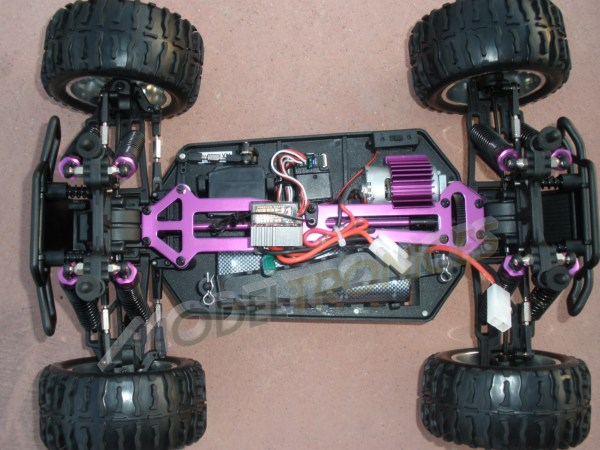 Monster 4x4 1:10 Brontosaurus HSP a 2.4 GHz. Camión azul-negro-6
