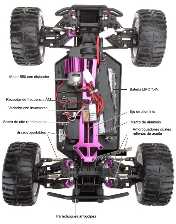 Monster 4x4 1:10 Brontosaurus HSP a 2.4 GHz. Camión azul-negro-3