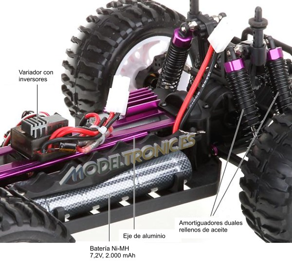 Monster 4x4 1:10 Brontosaurus HSP a 2.4 GHz. Camión azul-negro-4