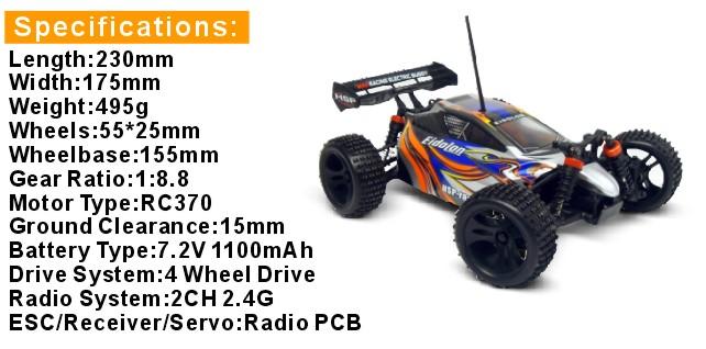 Mini Buggy 4x4 eléctrico HSP 1:18 Eidolon RTR 2.4 GHz. AZUL-2