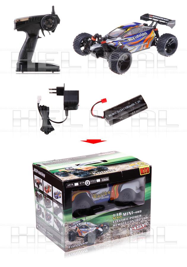 Mini Buggy 4x4 eléctrico HSP 1:18 Eidolon RTR 2.4 GHz. AZUL-4
