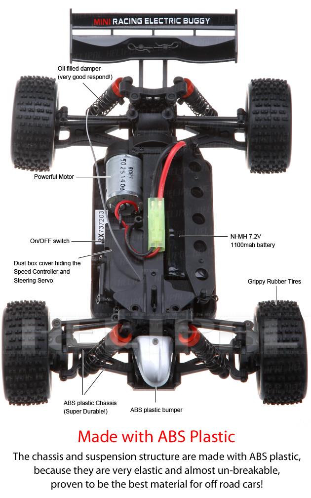 Mini Buggy 4x4 eléctrico HSP 1:18 Eidolon RTR 2.4 GHz. AZUL-7