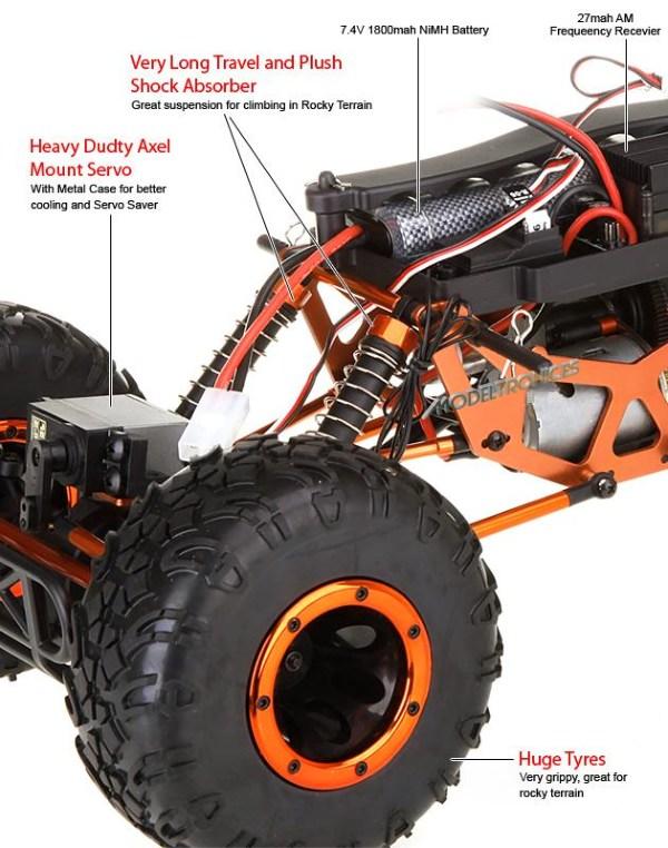 Crawler HSP 1:10 Pangolin 4 ruedas direccionales AZUL CAMION-14