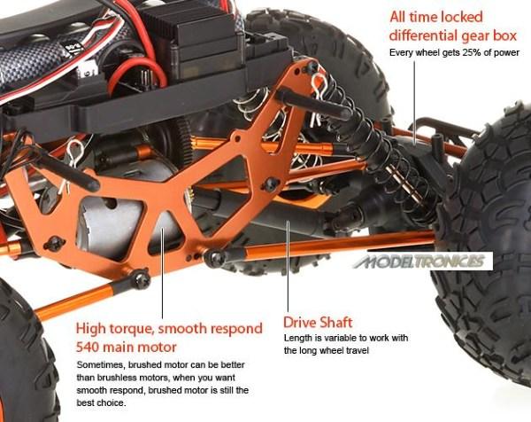 Crawler HSP 1:10 Pangolin 4 ruedas direccionales AZUL CAMION-15