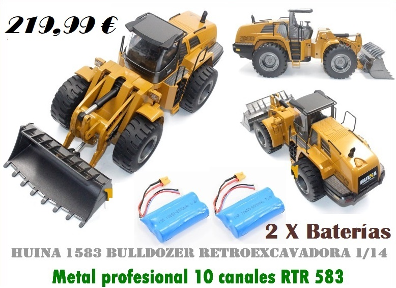 HUINA 1583 Bulldozer Retroexcavadora 1/14 metal profesional 10 canales RTR 583
