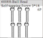 60088 - Ball Head Self-tapping Screw 3*18 6P
