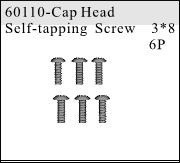 60110 - Cap Head Self-tapping Screw 3*8 6P
