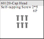 60120 - Cap Head Self-tapping Screw 2*5 6P