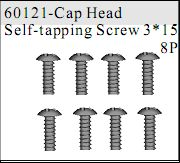 60121 - Cap Head Self-tapping Screw 3*15 8P
