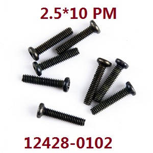 144001 12428-0102 - Tornillos  2.5*10 PM 8uds Wltoys buggy 144001