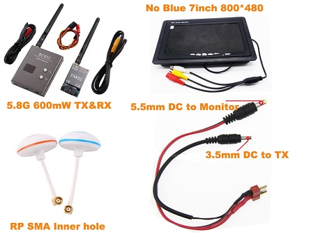 Pack FPV TX/RX video 5.8Ghz 600mW con antenas seta y monitor FPV