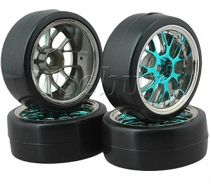 Set completo 4 ruedas drifting 1:10 llanta AZUL hexagono 12MM