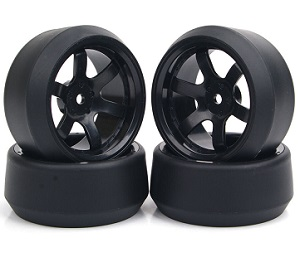 Set completo 4 ruedas drifting 1:10 llanta NEGRA hexagono 12MM