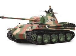 Tanque 1:16 Panther G color camuflage dispara bolas emisora 2.4G batería LITIO 3879-1