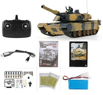 Tanque RC Heng Long réplica USA ABRAMS M1A2 escala 1:24 Airsoft 6MM e infrarrojos 2.4Ghz