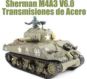 Tanque rc 1:16 Sherman M4A3 Heng Long humo emisora 2.4G Airsoft 6mm 3898-1 ENGRANAJES DE ACERO version V6.0