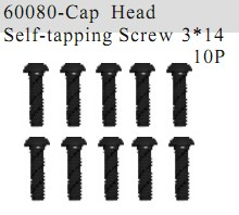 60080 - Cap Head Self-tapping Screw 3*14 10P