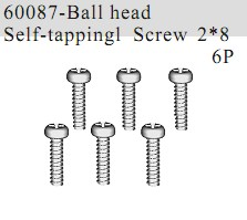 60087 - Ball Head Self-tapping Screw 2*8 6P