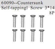60090 - Countersunk Self-tapping Screw 3*14 8P
