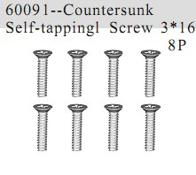 60091 - Countersunk Self-tapping Screw 3*16 8P