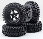 30019 Set 4 ruedas 1:10 rock crawlers Pangolin llanta negra 1.9