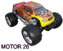 Coche nitro MONSTER 1:8 SAVAGERY MOTOR 26CPX 2.4GHz+1L COMBUSTIBLE 16%+CHISPOMETRO ROJO-AMARIL