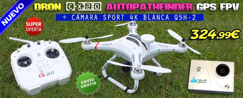 DRON CX20 CHEERSON GPS FPV RTF + C�MARA SPORT 4K BLANCA Q5H-2
