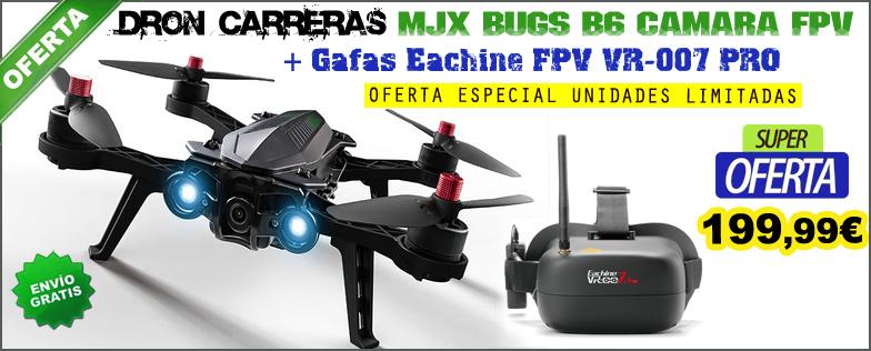 Dron de carreras Brushless MJX Bugs B6 con c�mara FPV 5.8Ghz + Gafas Eachine FPV VR-007 PRO
