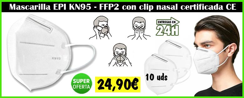 Mascarilla FFP2 KN95 certificada CE con filtro bolsa de 10 uds.