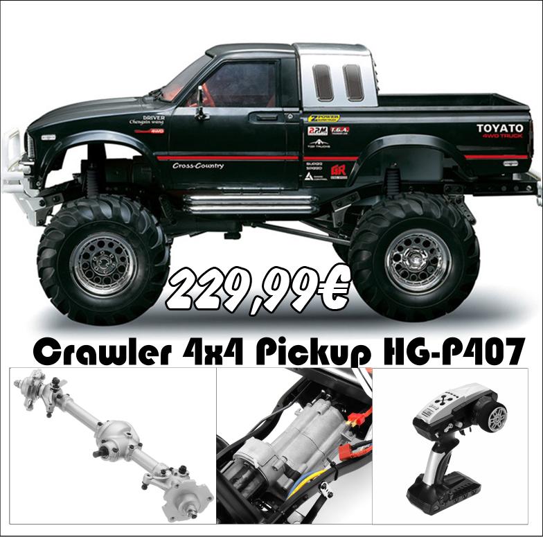 Crawler 4x4 Pickup HG-P407 chasis, caja transmisión, ejes en metal 3 velocidades completo con emisora 3ch 2.4G