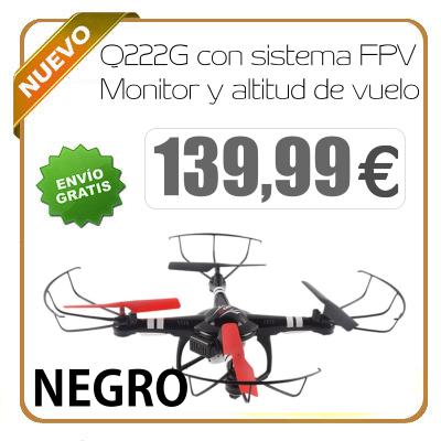 Dron Q222G con sistema FPV Monitor y altitud de vuelo NEGRO