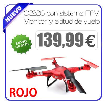 Dron Q222G con sistema FPV Monitor y altitud de vuelo ROJO