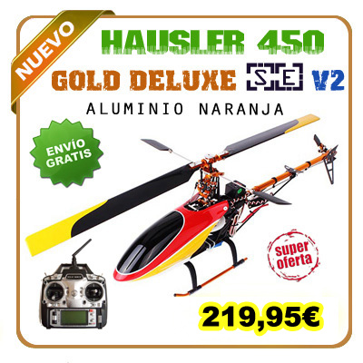 HAUSLER 450 SE versión GOLD DELUXE V2 RTF emisora FS-T6 2.4GHz.