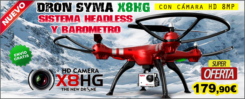 Dron SYMA X8HG con c�mara HD 8MP con sistema Headless Bar�metro