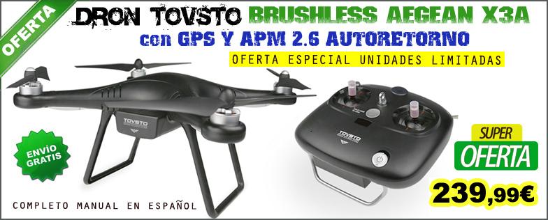 Dron Tovsto BRUSHLESS AEGEAN X3A con GPS y APM 2.6 Autoretorno