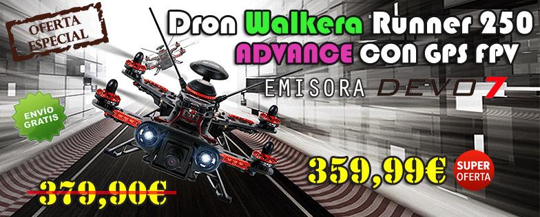 Dron Walkera Runner 250 ADVANCE CON GPS FPV EMISORA DEVO 7 RTF